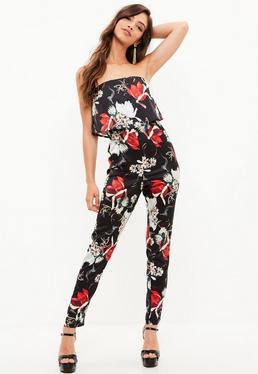 Black Bandeau Floral Print Jumpsuit