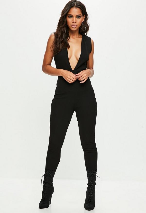 schwarzer unitard jumpsuit mit tiefem ausschnitt missguided. Black Bedroom Furniture Sets. Home Design Ideas