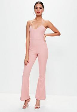 Pink Bandage Kick Flare Jumpsuit