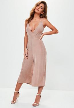 Pink Slinky Wrap Front Culotte Jumpsuit