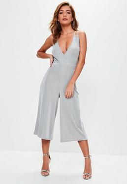 Grey Slinky Wrap Front Culotte Jumpsuit
