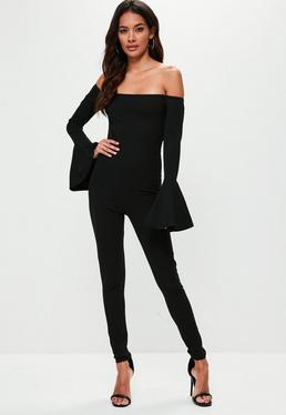 Black Bell Sleeve Unitard Jumpsuit