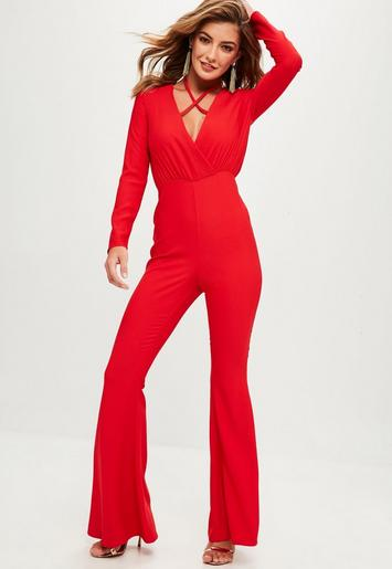 missguided - red tailored cross front jumpsuit