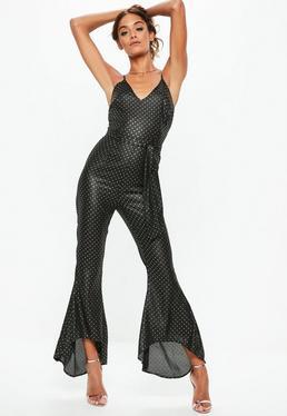 Black Dobby Tie Waist Flare Leg Jumpsuit