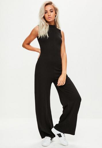 Black high neck sleeveless jumpsuit missguided - Combinaison femme pour mariage ...