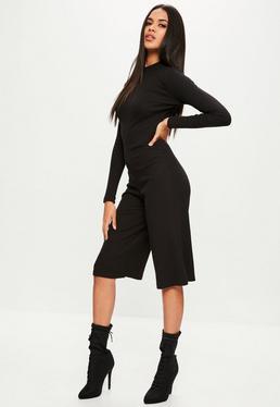 Black High Neck Long Sleeve Culotte Jumpsuit