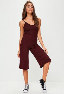 Burgundy Tie Strap Ribbed Culotte Jumpsuit
