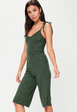 Green Strappy Ribbed Culotte Jumpsuit