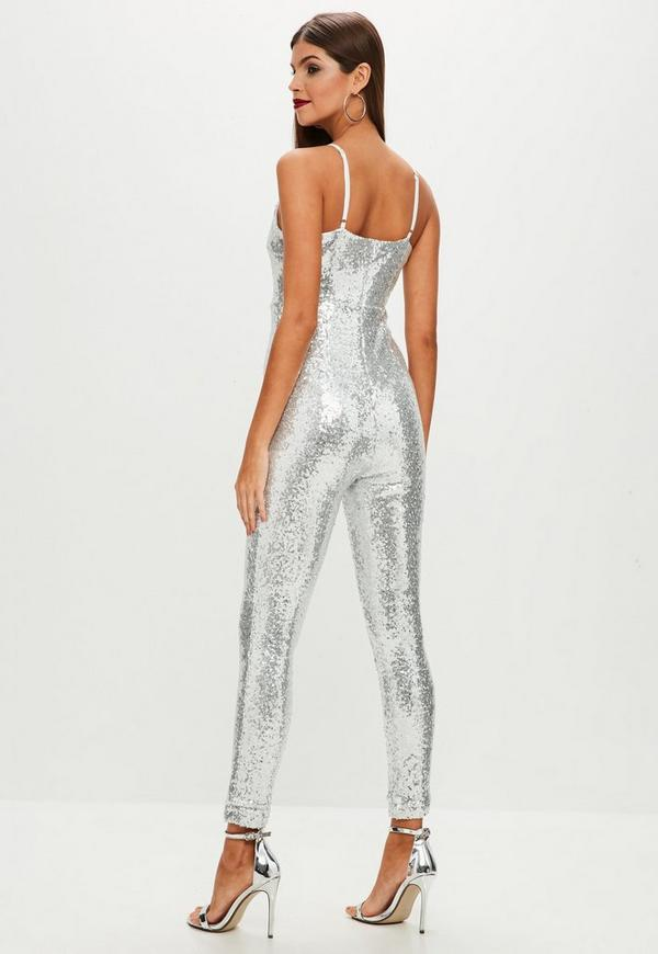 Silver Sequin Unitard Jumpsuit | Missguided
