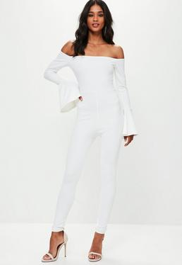White Bell Sleeve Bardot Jumpsuit