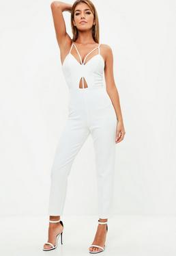White Tailored Harness Detail Jumpsuit