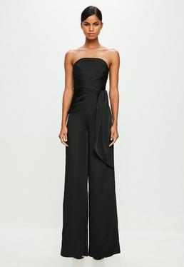 Peace + Love Black Twist Front Bandeau Jumpsuit