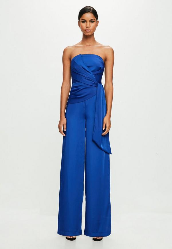 Blue Twist Front Bandeau Jumpsuit