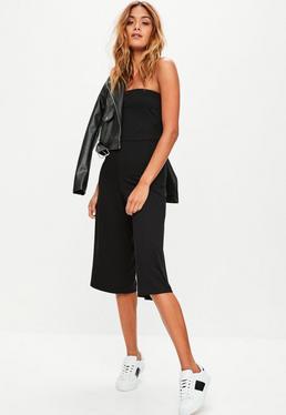 Black Bandeau Culottes Jumpsuit