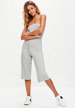 Grey Bandeau Culottes Jumpsuit