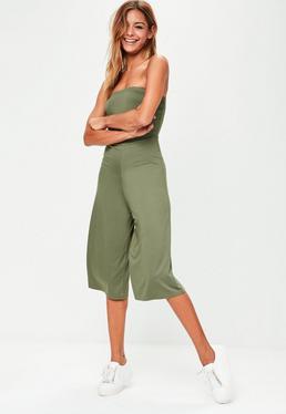 Combi-jupe-culotte verte kaki coupe bustier