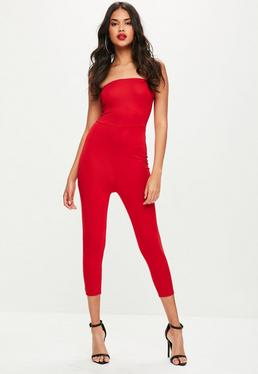 Red Bandeau Skinny Leg Jumpsuit