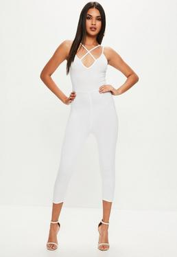 White Harness Front Jumpsuit