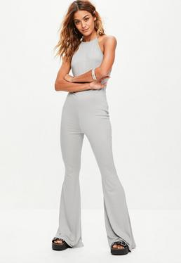 Grey Racer Neck Flare Leg Jumpsuit