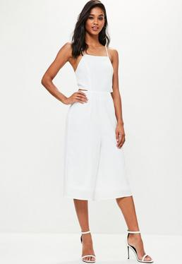 White Tie Back Culottes Jumpsuit