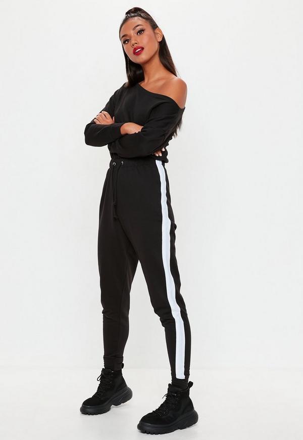 schwarzer jumpsuit mit seitenstreifen missguided. Black Bedroom Furniture Sets. Home Design Ideas