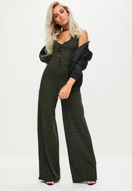Green Ribbed Lace Up Front Jumpsuit
