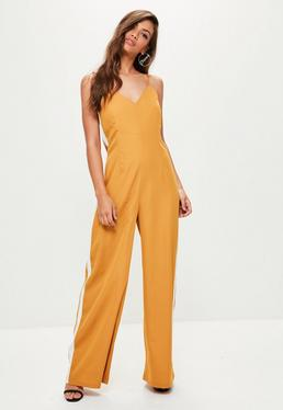 Mustard Wide Leg Striped Jumpsuit