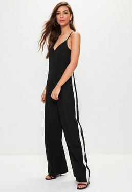 Black Wide Leg Stripe Jumpsuit