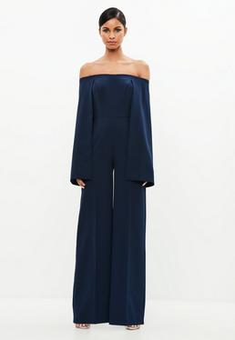 Peace + Love Navy Bardot Cape Jumpsuit