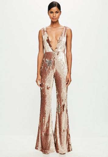 Peace Love Gold Sequin Jumpsuit Missguided