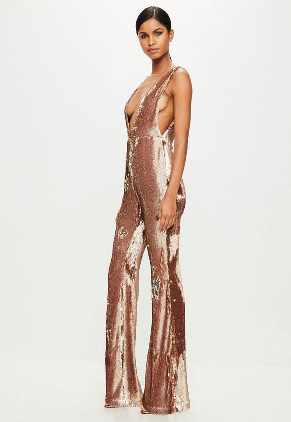693ee625e88 Peace + Love Gold Sequin Jumpsuit