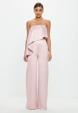 Peace + Love Pink Bandeau Satin Frill Jumpsuit