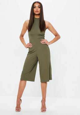 Khaki Ribbed Wide Leg Jumpsuit