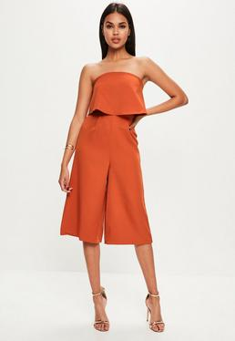 Orange Layered Culottes Jumpsuit