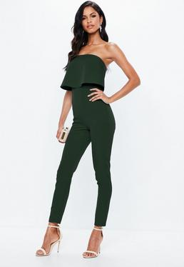 Green Bandeau Double Layer Jumpsuit