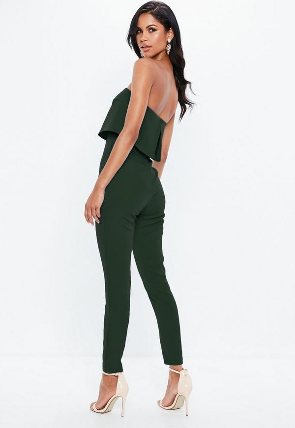 green bandeau double layer jumpsuit missguided