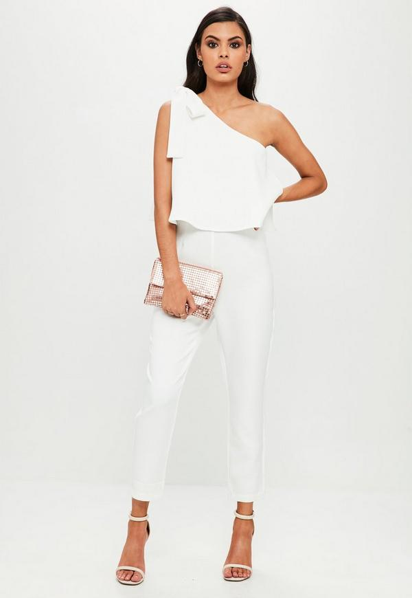 White one shoulder bow jumpsuit missguided - Jumpsuit hochzeit ...
