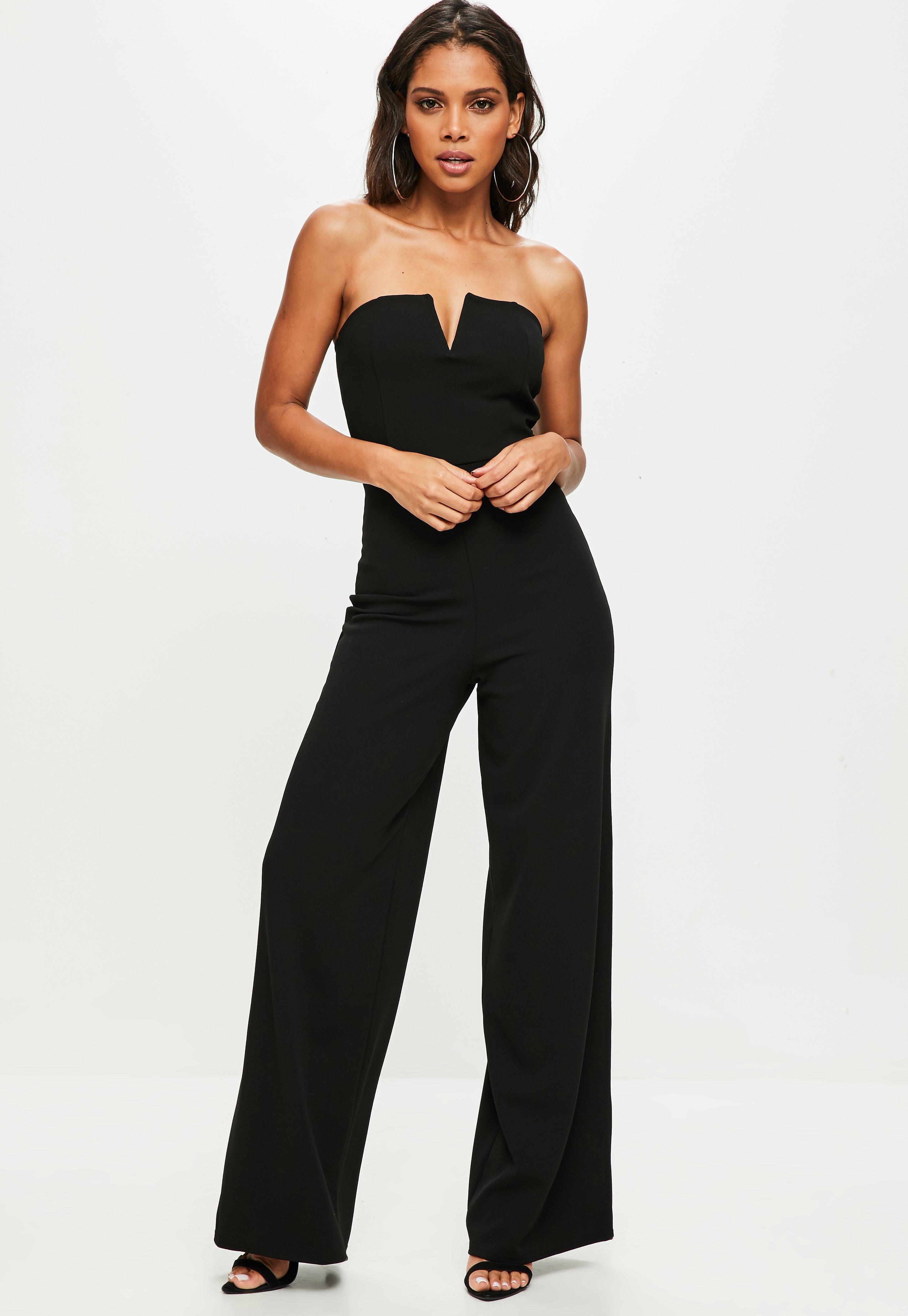 Shoping around (Star) Black-bandeau-wide-leg-jumpsuit
