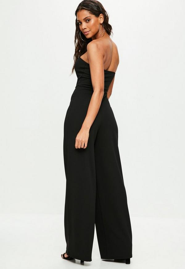 5a084ebcc0a Black Bandeau Wide Leg Jumpsuit. Previous Next