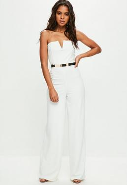 White Bandeau Wide Leg Jumpsuit