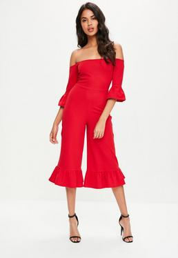 Red Frill Detail Culotte Jumpsuit