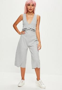 Grey Ribbed Sleeveless Jumpsuit