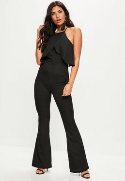 Black Frill Front Kickflare Jumpsuit