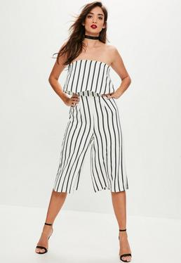 White Striped Bardot Culotte Jumpsuit