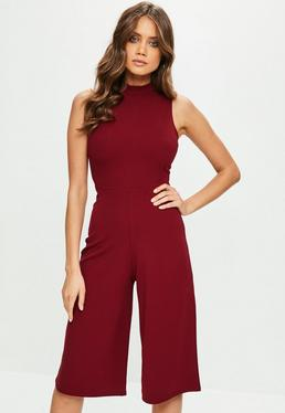 Burgundy High Neck Culotte Jumpsuit