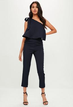 Navy One Shoulder Bow Jumpsuit