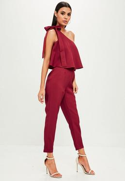 Red One Shoulder Bardot Jumpsuit