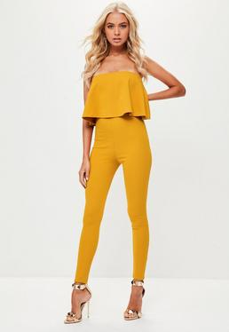 Yellow Bandeau Unitard Jumpsuit