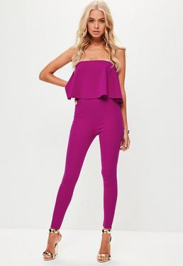 Purple Bandeau Unitard Jumpsuit