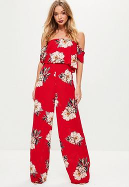 Red Floral Crepe Overlay Bardot Jumpsuit